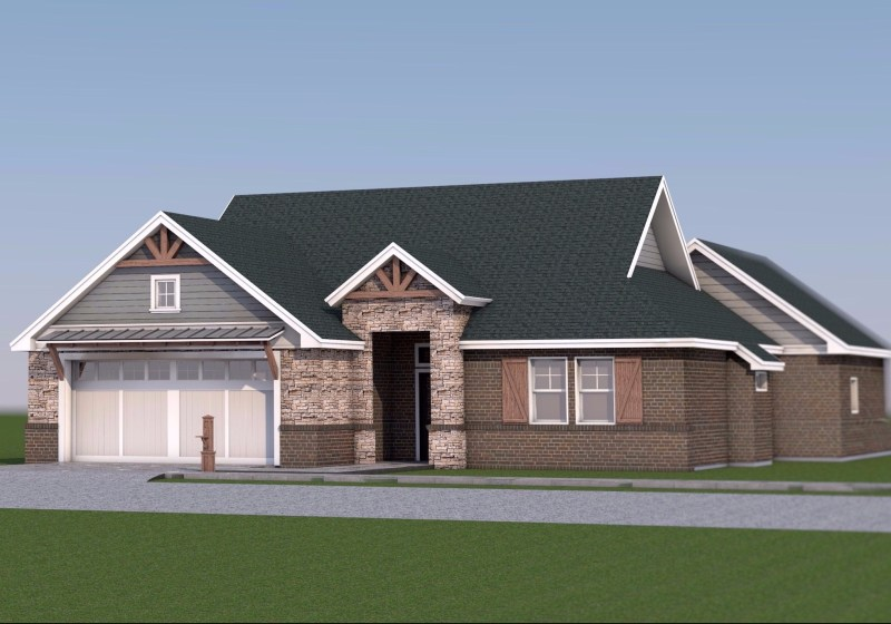 Farmhouse Front View 3D Render