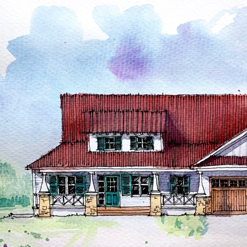 Craftsman House - Sketch Art