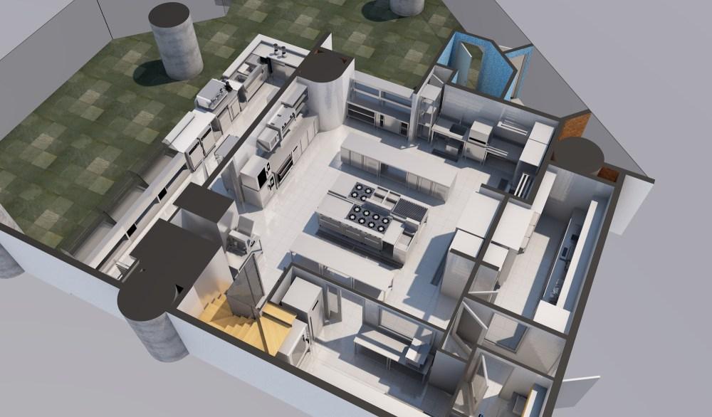Diseño de cocina para restaurant, panadería, 3D Render