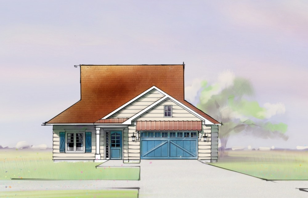 Farmhouse Front Elevation Sketch