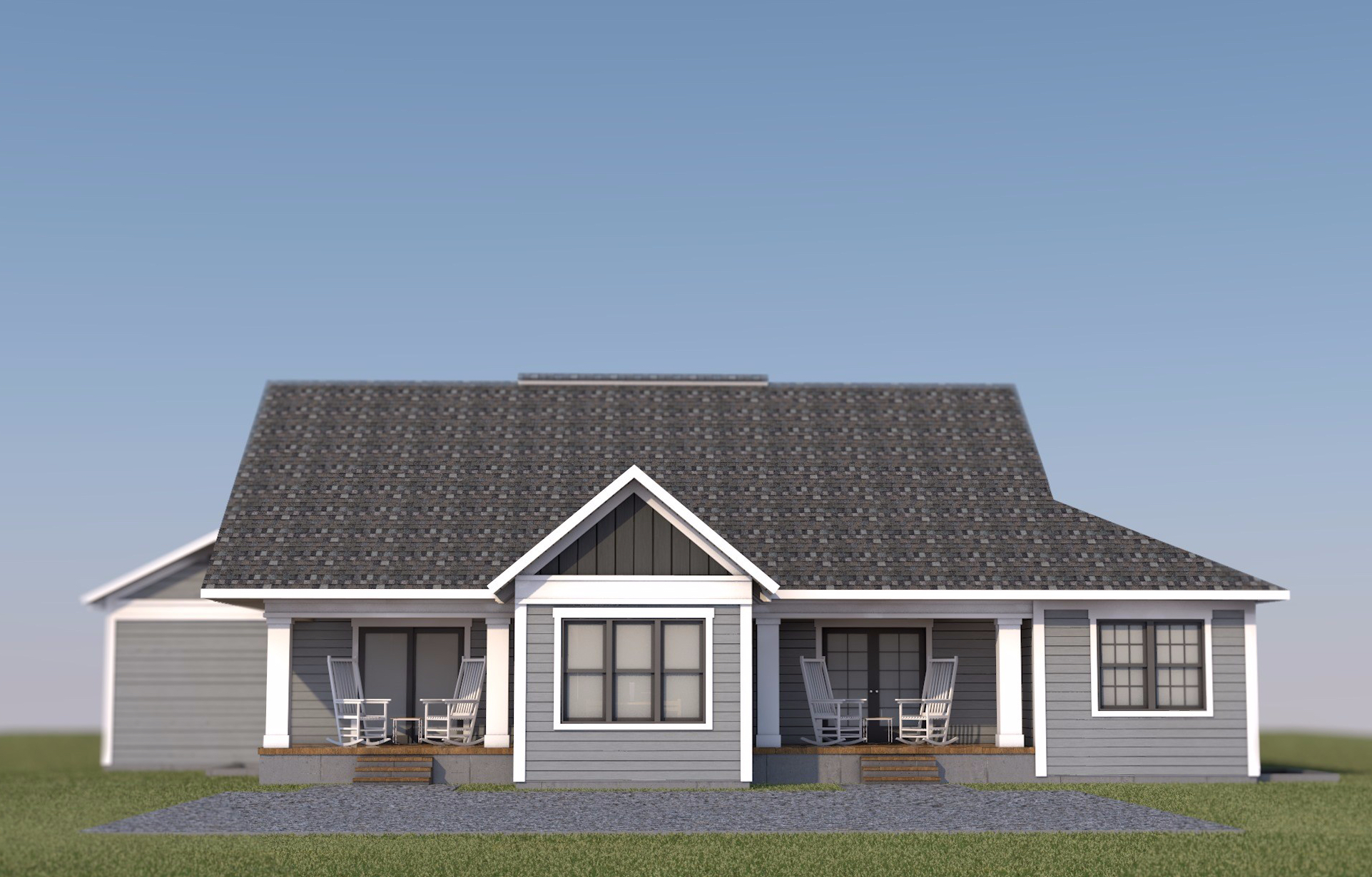 Farmhouse Rear Elevation 3d render