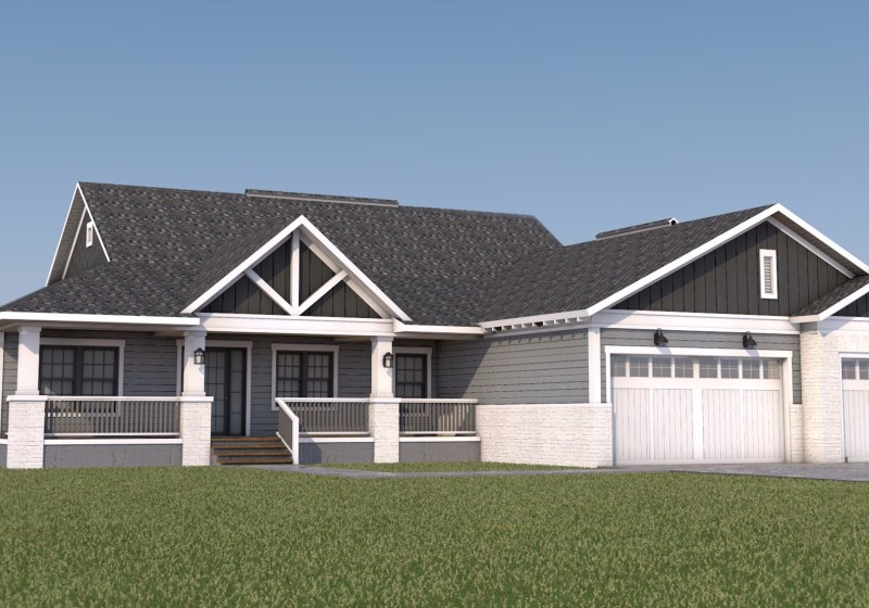 Farmhouse Front Elevation 3d render