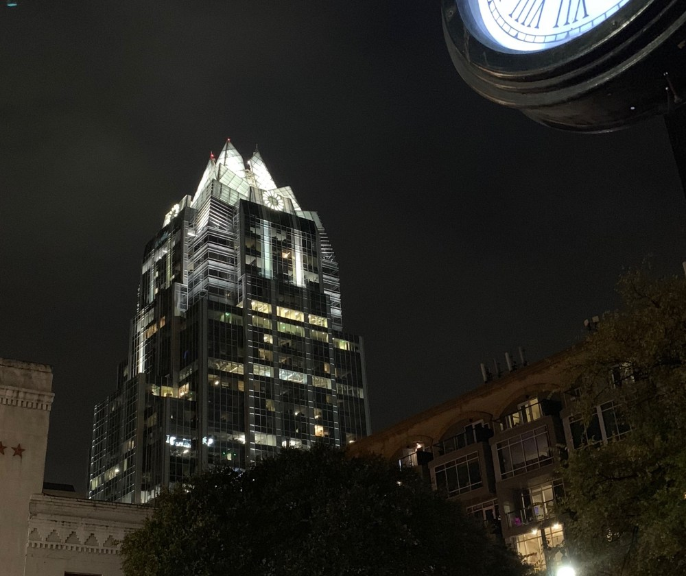 Night Arrival to Austin - Frost Bank Tower night