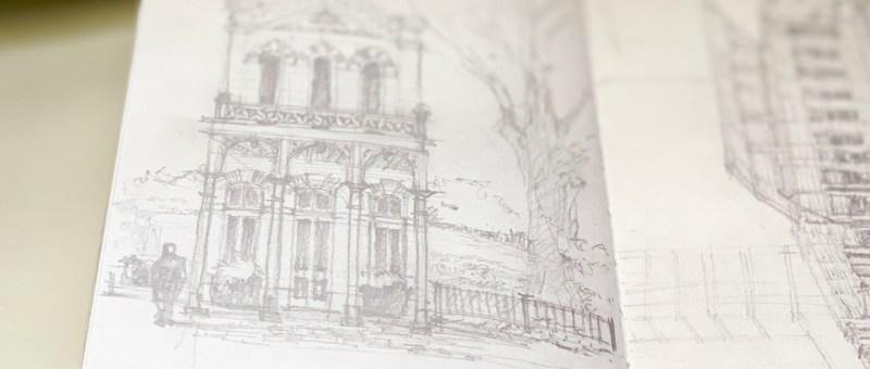Sketchbook pencil sketch building