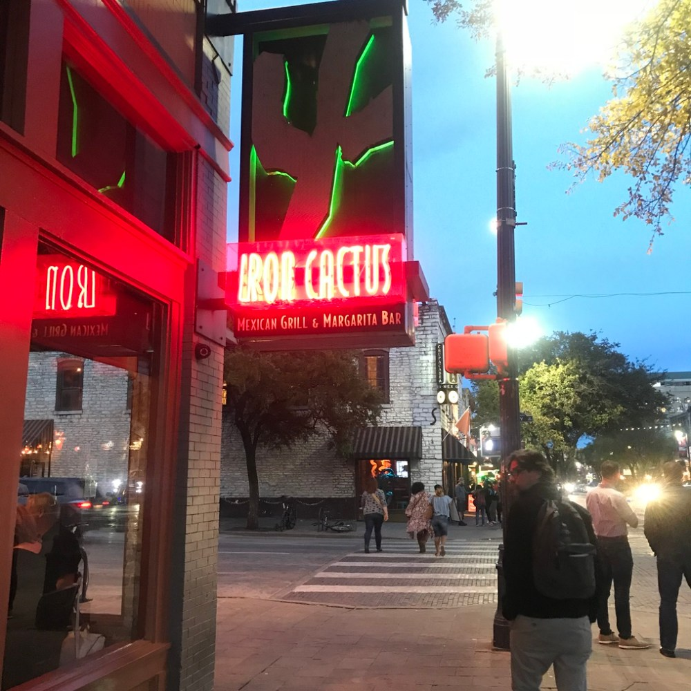Austin street Iron cactus restaurant neon sign