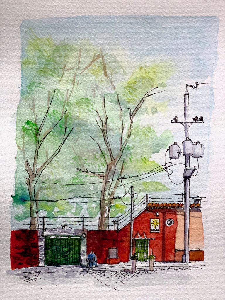 Ink And Watercolor Sketch, Urban Sketch Red House and tree.