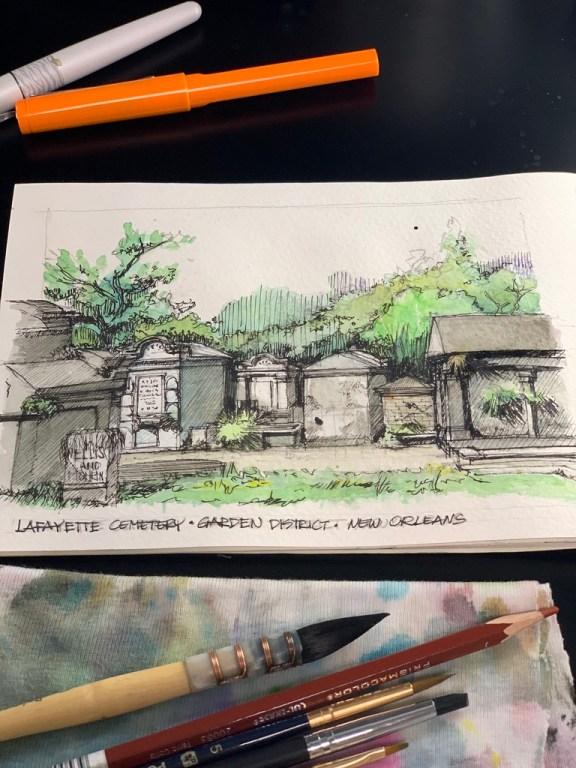Lafayette Cemetery Sketch - #inktober2019 Day 11