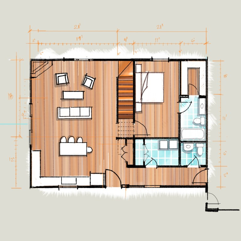 Lake House Design Floor Plan Sketch