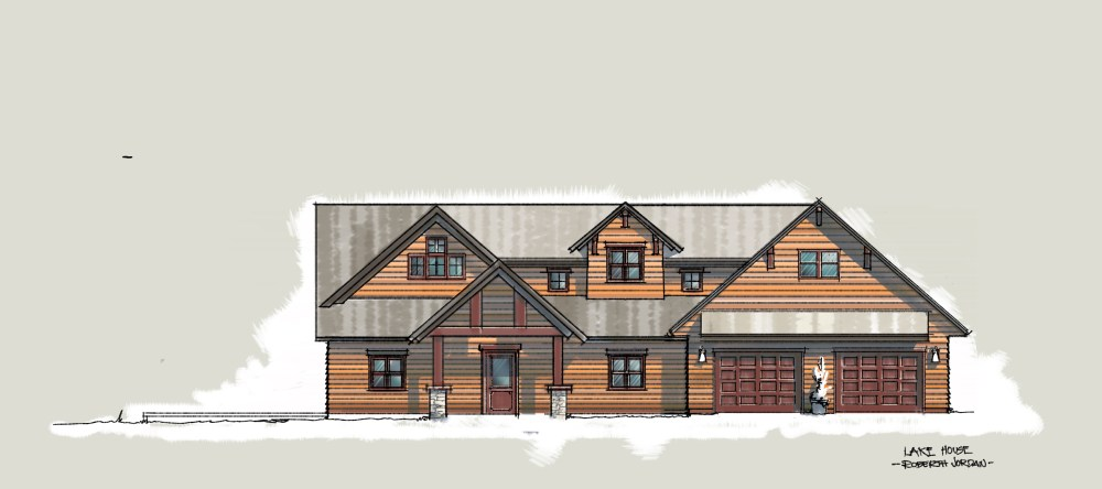 Lake House Design Front Elevation Sketch