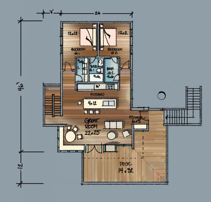 Lakehouse Main Floor Plan Sketch