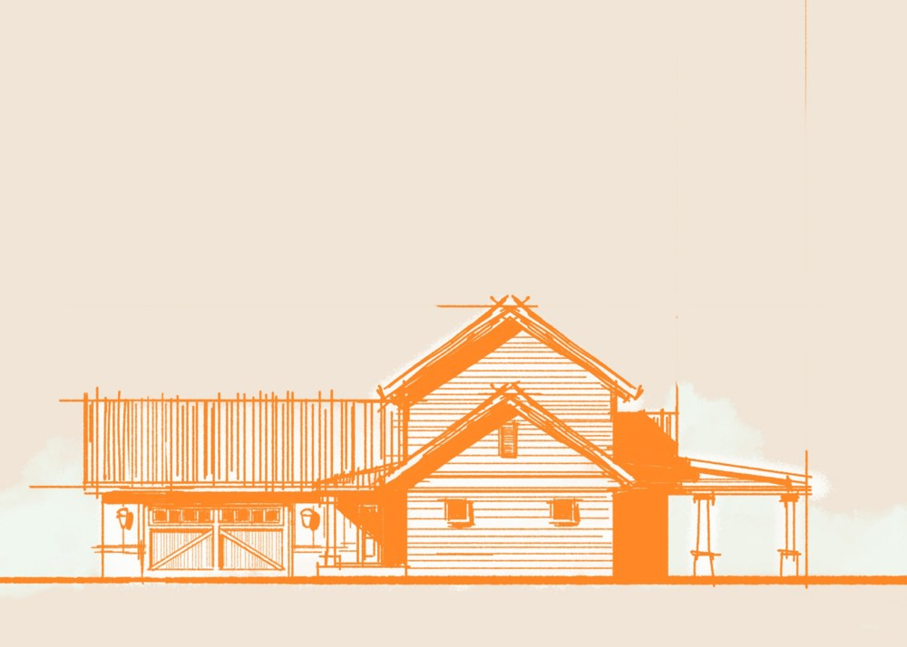 Rough Sketch Country Farmhouse Elevation