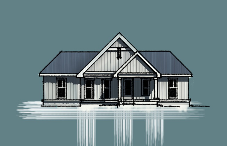 Brand new Country House Front Elevation Sketch