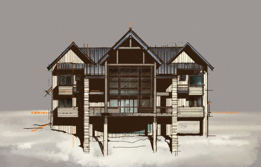 Rustic also Modern Farmhouse Sketch Rear Elevation