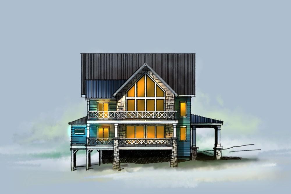 Blue Lakehouse Sketch
