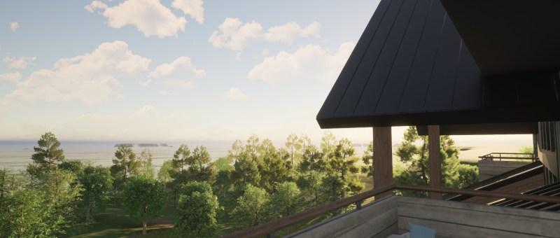 Modern Rustic Lakehouse View