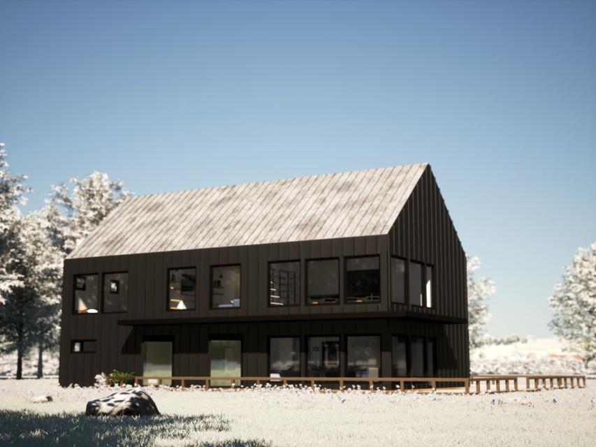 Minimalist Barn House winter