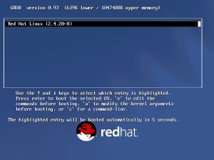 The Grub boot loader showing Red Hat Linux 9 using Linux kernel 2.4.20