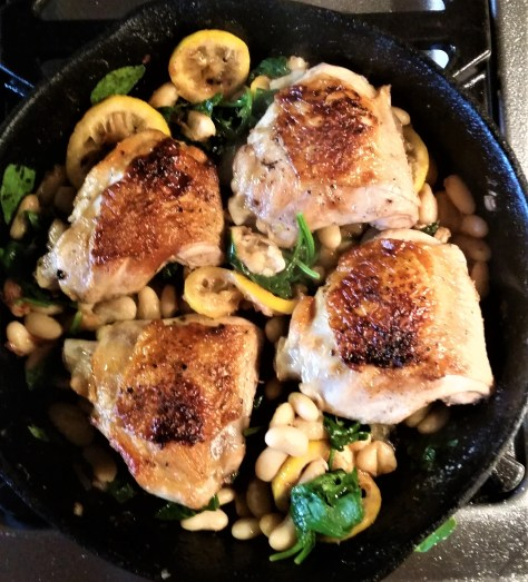 Chicken with White Beans, Spinach and Lemon
