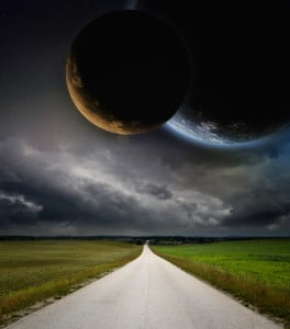 Countryside road and planets in space