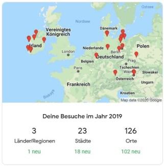 Jahresrückblick 2019 Travel Map
