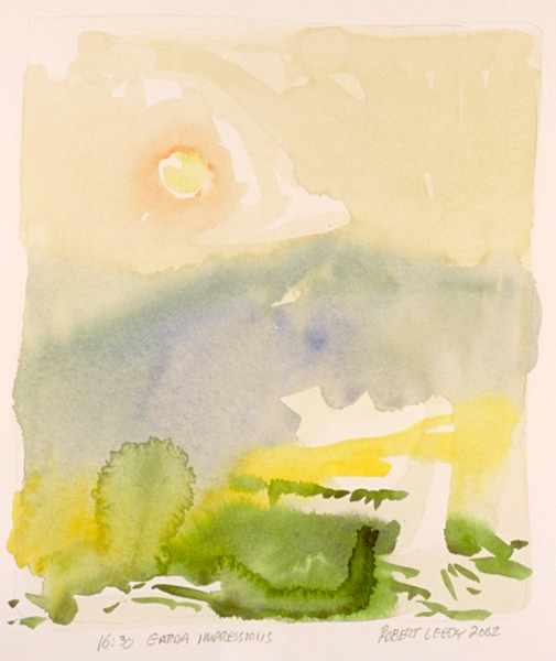"""16:30 Garda Impressions"", by Robert Leedy, 2002, watercolor on Arches Hot Press paper, Collection of the Artist"