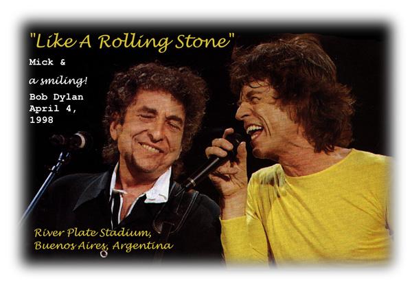 A Smiling Bob Dylan & Mick Jagger at River PlateStadium