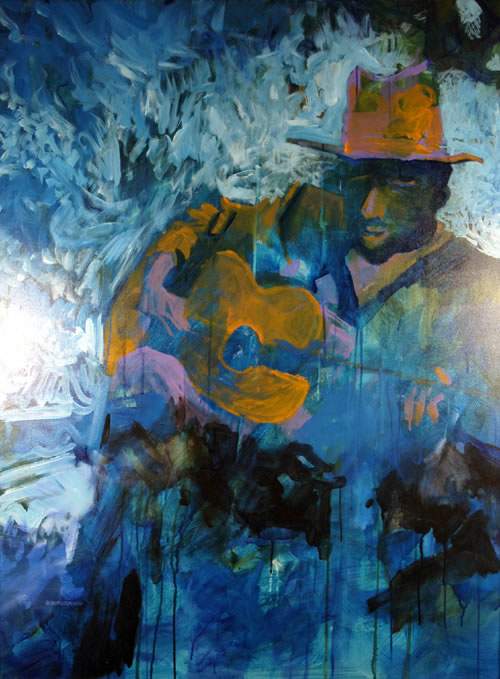 """""""Blue Man"""", by Robert Leedy, 2001, acrylic on canvas, 48 x 36 in., Collection of Mr. & Mrs. William D. Thomas, New York, NewYork"""