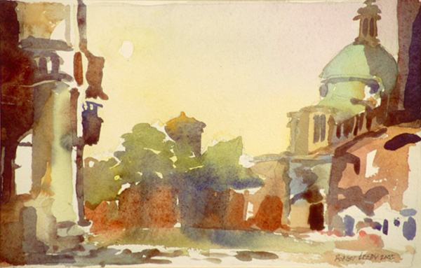 """""""Piazza Ducale, Mantua"""", by Robert Leedy, 2002, watercolor on paper, 6 x 9.375 in., Collection of theArtist"""