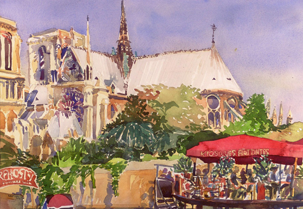 """Notre Dame"", by Robert Leedy, 2003, watercolor on paper, 13.5 x 19.375 in., Collection of Mr. & Mrs. William D. Thomas, New York, New York"