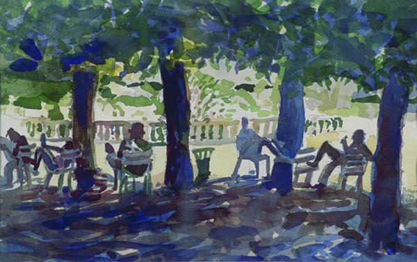 """A Break From The Heat - Jardins du Luxembourg"", by Robert Leedy, 2003, watercolor on paper, 9.75 x 15.375 in., Collection of the Artist"