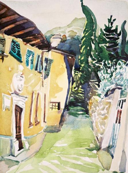 """Italian Hommage to Soutine"", by Robert Leedy, 2003, watercolor on paper, Collection of Karen Martin, Orange Park,Florida"
