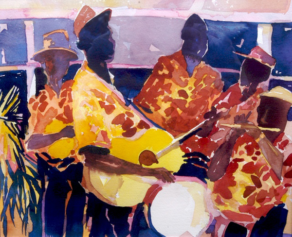 """Nevisian String Band"", by Robert Leedy, 1992, watercolor on paper, Collection of Amy Carol Roberts, Neptune Beach, Florida"
