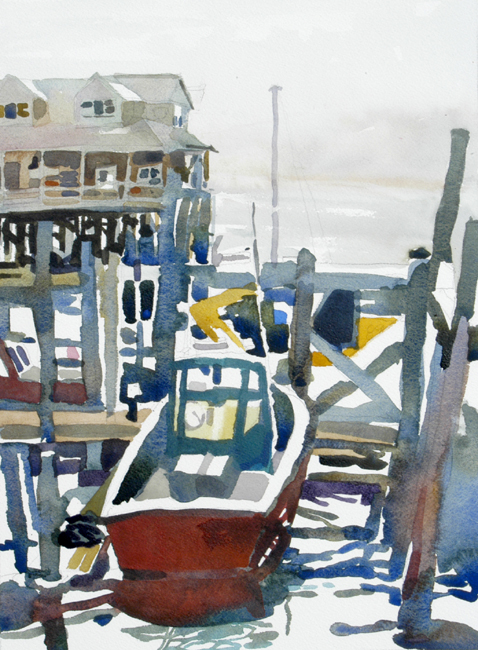 """""""Red Boat"""", by Robert Leedy, 2008, watercolor on Arches 140 lb. Cold Press paper"""