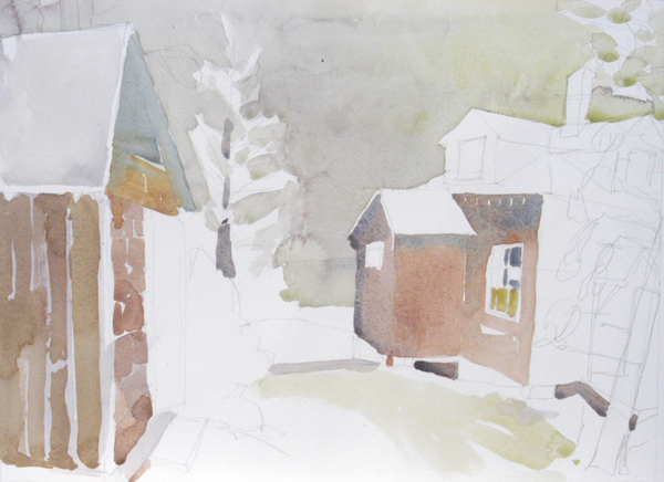 """""""The Spruce House, Marshall Point, Maine"""", by Robert Leedy, 2008, watercolor on Arches 140 lb. Hot Press paper"""