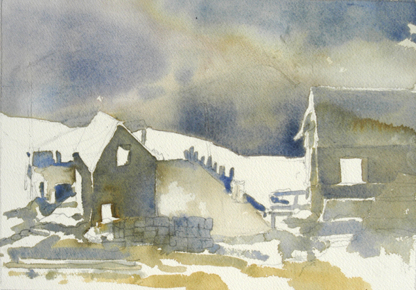 """""""Monhegan Fog"""", by Robert Leedy, 2008, watercolor on Arches 140 lb. Cold Press paper, 11.5"""" x 8.75"""" (Unfinished)"""