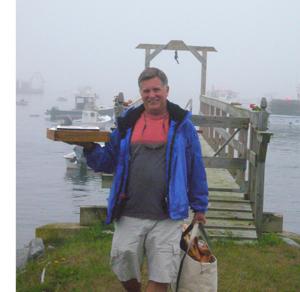 Robert Leedy returning from Amy's dock, Owls Head Harbor Maine, August 2008, photo by Ralph Steinglass