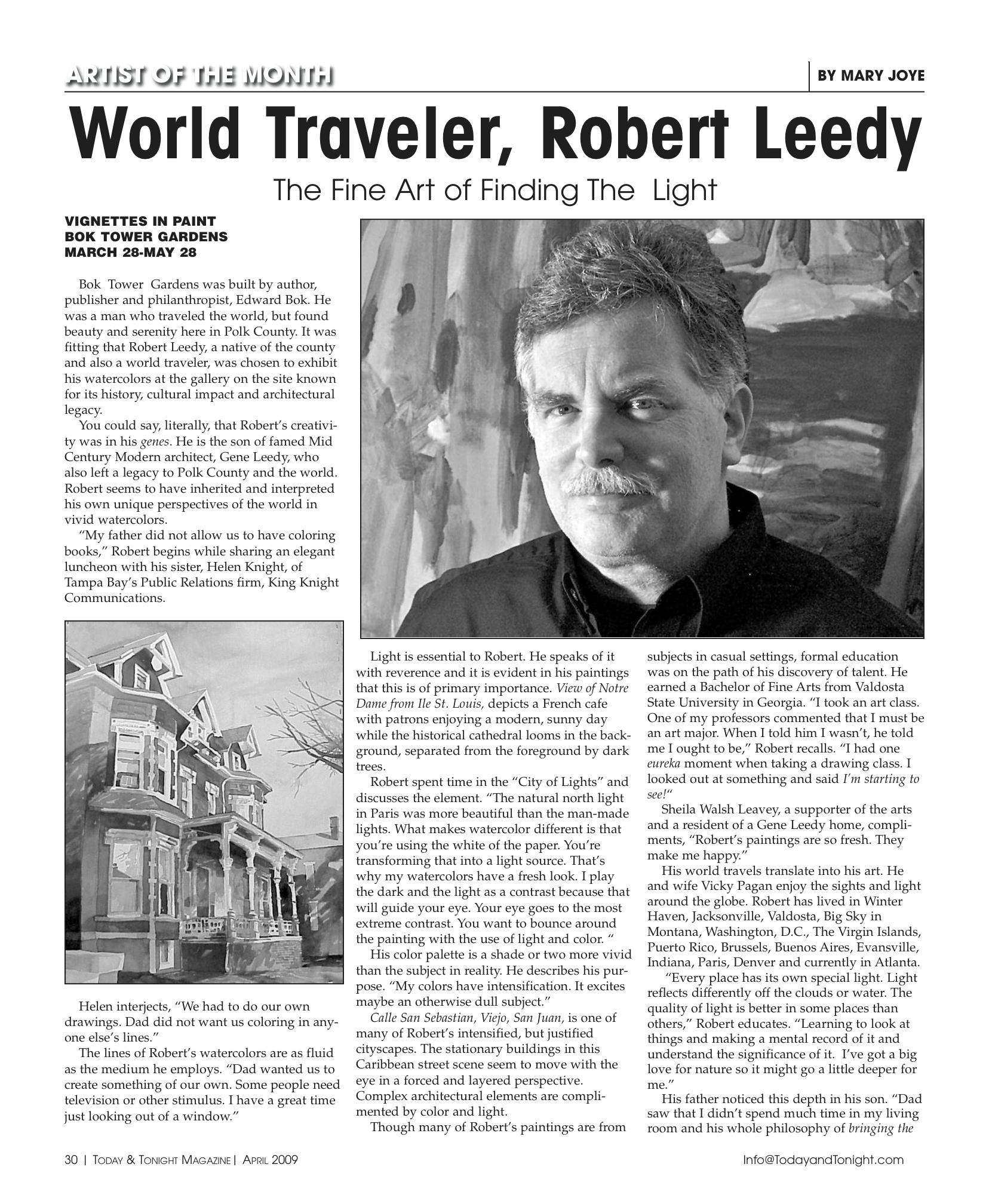 """World Traveler, Robert Leedy: The Fine Art of Finding The Light"""
