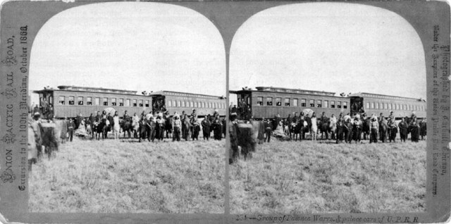 John Carbutt's Stereograph of Pawnee Indians participating in Hundredth Meridian Excursion.