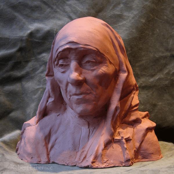 Robert-Liberace,-Mother Teresa study, terra cotta