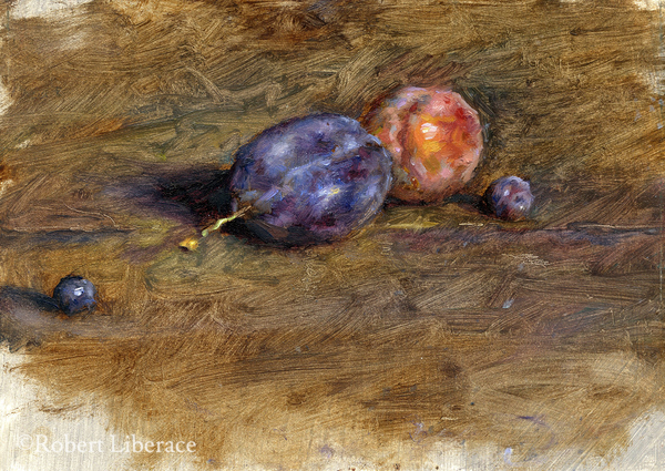 Robert Liberace,-studyof-Plums-and-blueberries,-6x8-in.-oil-on-panel
