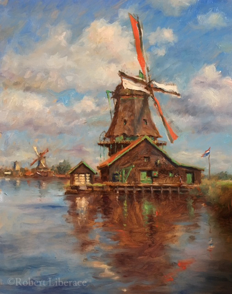 Robert Liberace, Da-Cat-Windmill, oil-on-board