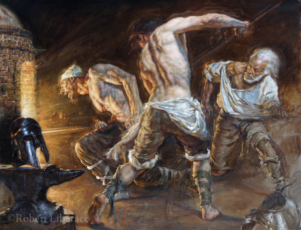 Robert-Liberace,-The Forge,-oil-on-canvas