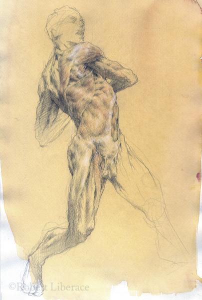 Robert Liberace, ecorche man, three-color-chalk