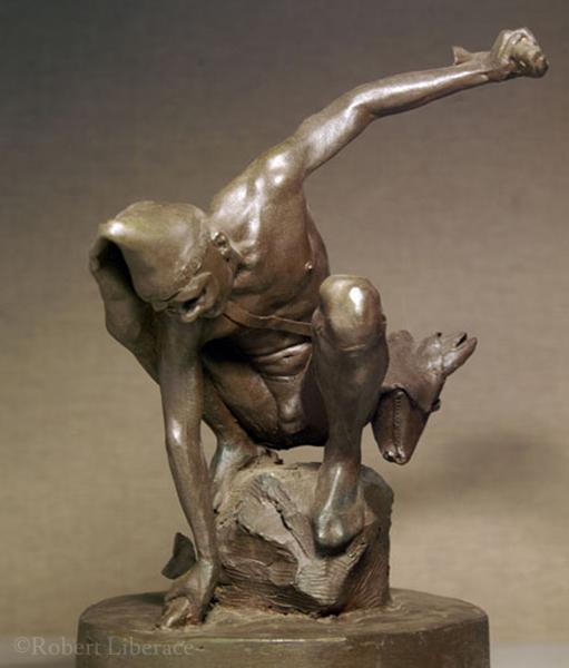 Robert Liberace, harlequin fishing, terra-cotta