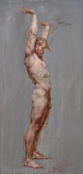 Robert Liberace male figure standing oil