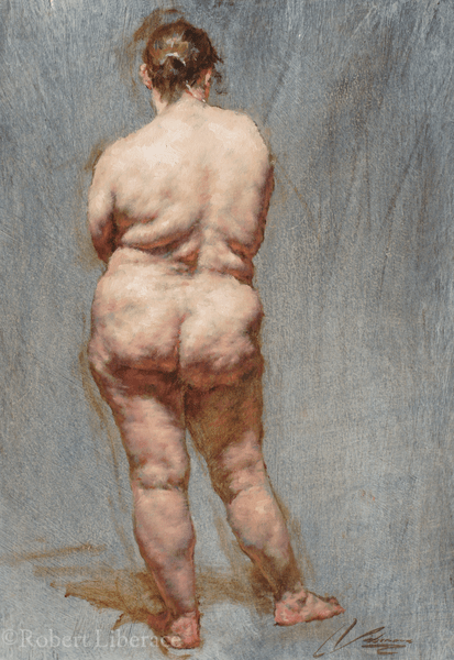 Liberace Jalene back view oil painting 2012