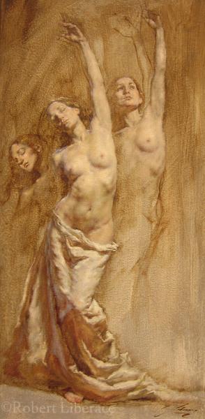 Robert Liberace Reaching, oil on panel, 2012, 12x24