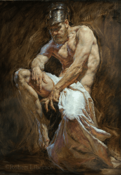 Robert Liberace Warrior oil painting