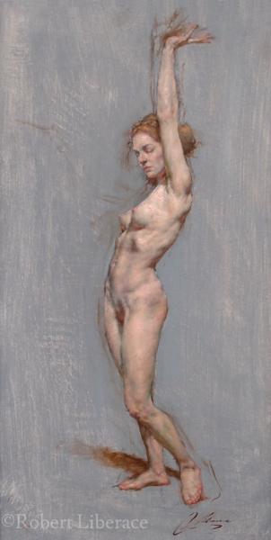 Robert Liberace female figure standing oil