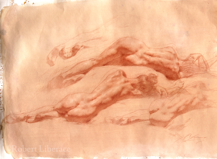 Robert Liberace reclining figure red chalk